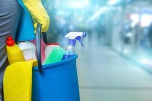 imagem de uma pessoa segurando um balde com produtos de limpeza